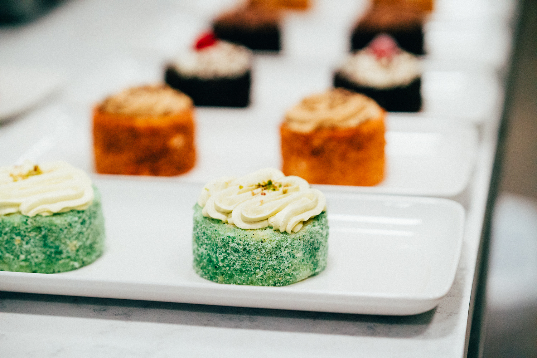 A row of finely made deserts are showcased at Botte Chai Bar in Saskatoon Saskatchewan